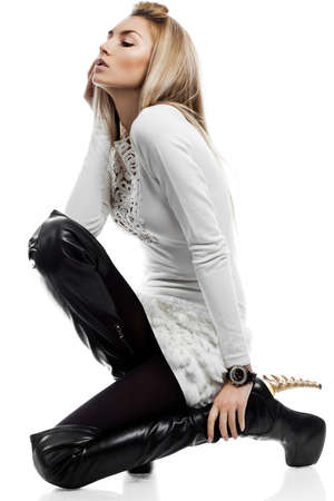 beautiful fashionable woman isolated on white background Stock Photo - 13603204