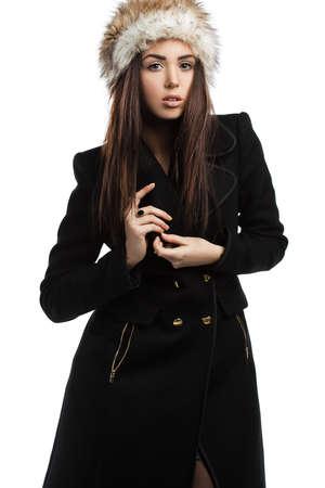 beautiful fashionable woman in coat photo