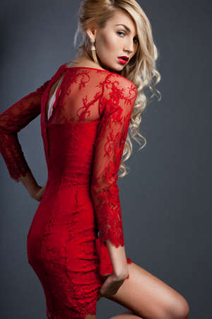 beautiful fashionable woman in red dress Stock Photo - 13603731