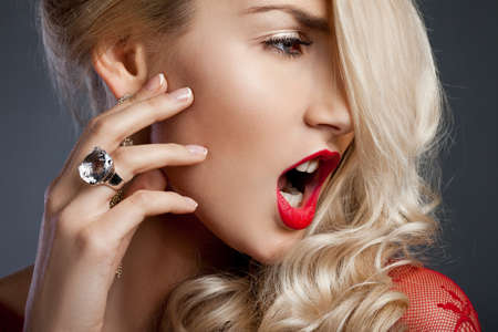 beautiful fashionable woman with ring Stock Photo