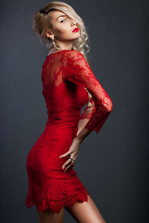 beautiful fashionable woman in red dress Stock Photo - 13603663