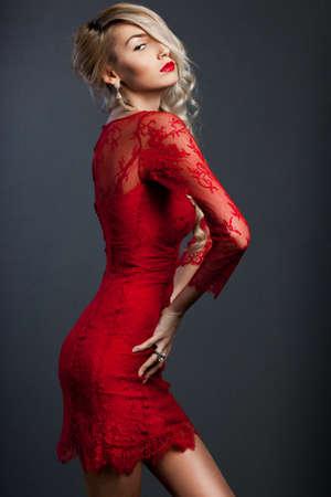 beautiful fashionable woman in red dress Stock Photo - 13603663