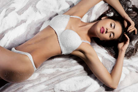 elegant fashionable woman in lingerie photo
