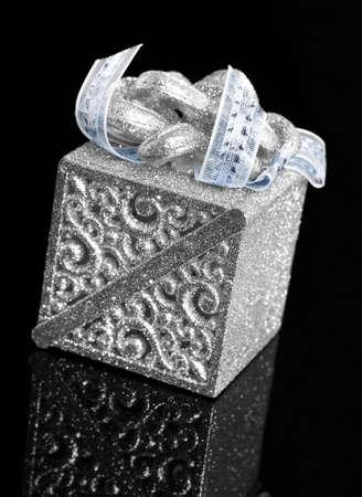 gift box on black background photo