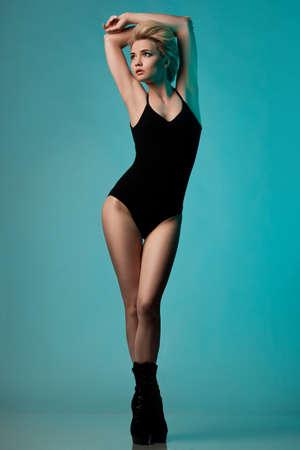 sexy nude blonde: beautiful fashionable woman in black underwear