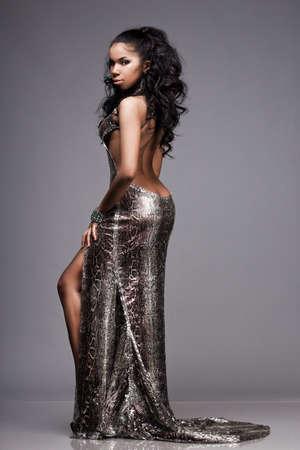 beautiful fashionable woman in silver dress