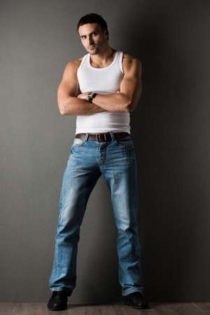 sexy man: young man in a t-shirt