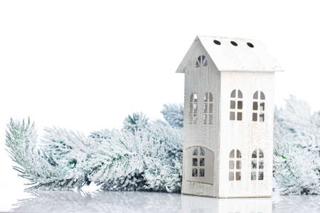 christmas card background: two-storied house on a festive background