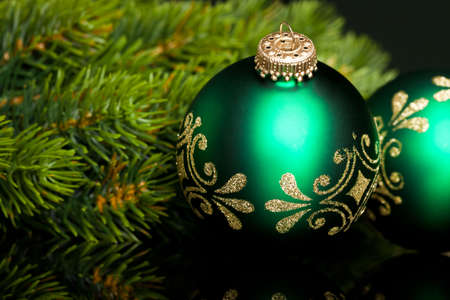 natal: branch of Christmas tree with festive ball