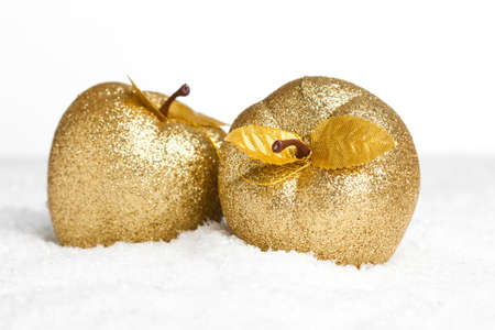golden apple: Christmas decoration apples with snow