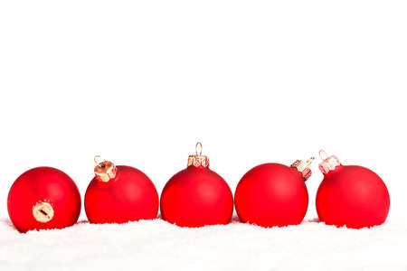natal: Christmas decoration with snow isolated on white background