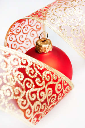 Christmas decoration balls with ribbon photo