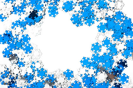 natal: many snowflakes on white background Stock Photo
