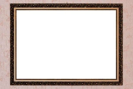 gold antique frame on pink background photo
