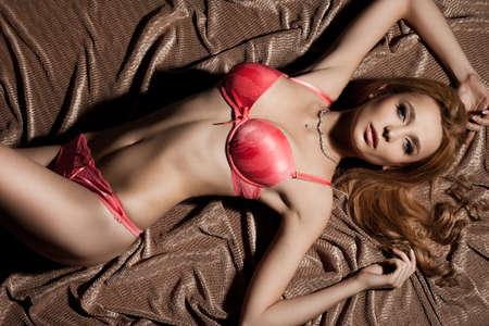 beautiful fashionable woman in lingerie