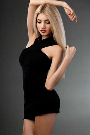 beautiful woman in black dress Stock Photo - 17450582