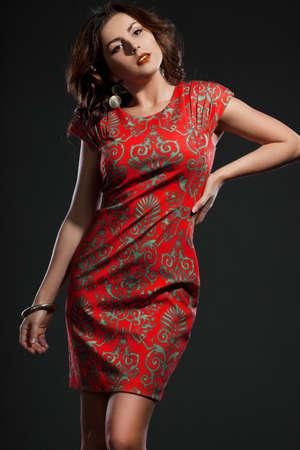 beautiful woman in red dress Stock Photo - 17450547