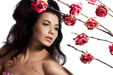 beautiful fashionable woman with roses Stock Photo - 17450576