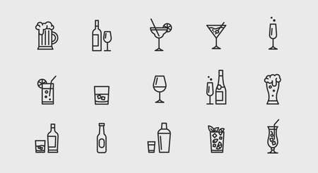 Alcoholic cocktails icons set. Simple outline cocktails icons isolated on white background. Set includes beer, mojito, whiskey. Icons set for restaurant, pub, bar.