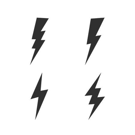 Lightning bolt icons set. Thunderbolt, lightning strike icon isolated on white background. Vector illustration