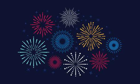 Bright celebrate fireworks explodes on the sky. Firecrakcer for anniversary, party, birthday, festival. Vector illustration