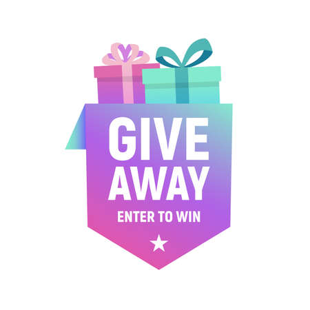 Giveaway banner template for social media. Enter to win poster. Gift box design for advertising, celebration, giveaway, rewards banners and posters. Vector illustration