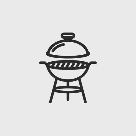 Barbecue grill icon. BBQ grill simple outline icon isolated on white background. Design for restaurant, bbq. Vector illustration Çizim