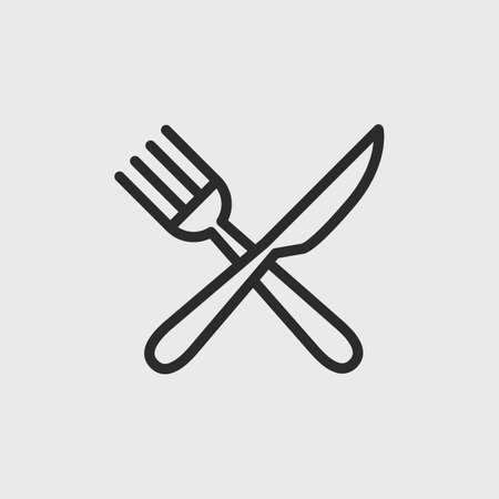 Restaurant  . Fork and Knife simple line icon isolated on white background. Vector illustration