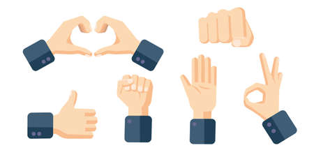 Hand position set. Hand gestures icons in cartoon flat style. Thumb up, stop, ok, hand fist symbols. Vector illustration
