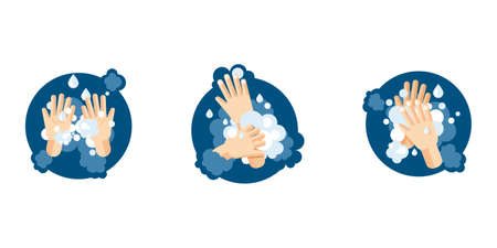 Washing Hands step by step instructions. 3 washing hands illustrations in cartoon flat style. Vector illustration Stock Illustratie