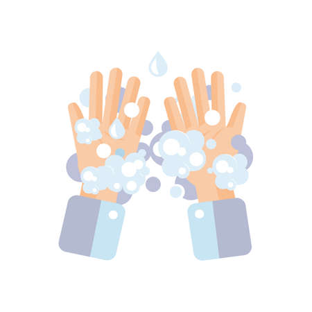 Washing hands concept. Washing hands with soap. Prevent virus concept. Vector illustration.