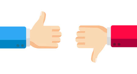 Hand gestures thumbs up and thumbs down. Like and dislike concept. Vector illustration