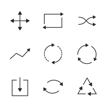 Arrows line icons set. Thin arrows icons isolated on white background. Circle, Square, Triangle shapes. Linear arrows icons. Vector illustration