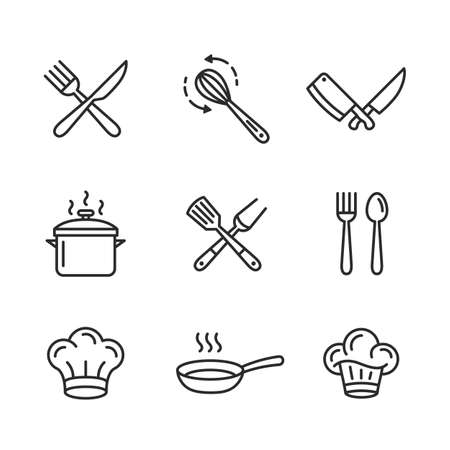 Food and restaurant outline icons set. Set of 9 food icons isolated on white background. Set includes restaurant utensils, chef hat, bbq grill. Icons for restaurants. Vector illustration