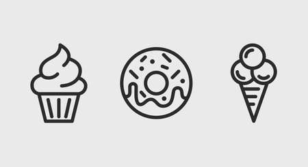 Cake, Donut, Ice Cream icons. Sweet dessert icons set. Cake, Donut, Ice Cream icons isolated on white background. Vector illustration Stock Illustratie