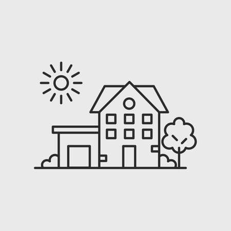 Home icon. simple House line icon isolated on white background. Design element for poster, label, brochure. Vector illustration 矢量图像