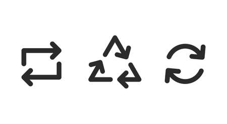 Recycled arrows icons. Square, Triangle and Circle shape. Eco, Reusable, Biodegradable icons. Vector illustration Ilustracja