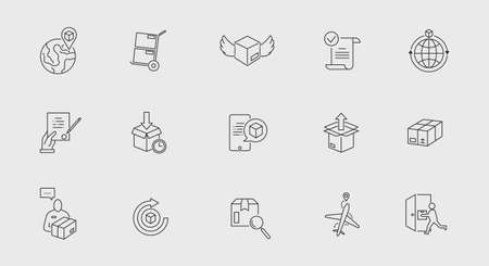 Delivery and Shipping thin icons set. Delivery related icons isolated on white background. Icons for web design, app design. Vector illustration