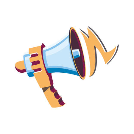 Megaphone, Loudspeaker isolated on white background. Trendy cartoon, flat style. Flat megaphone design for announce, promotion, alert.  Vector illustration
