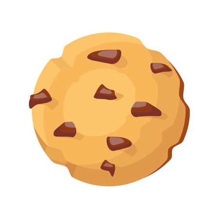 Cookie icon. Traditional cookie with chocolate crisps for web design and social media. Vector illustration