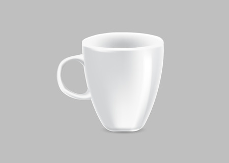 White cup on gray background. Vector illustration