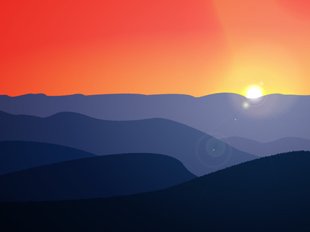 Background of mountains at sunset