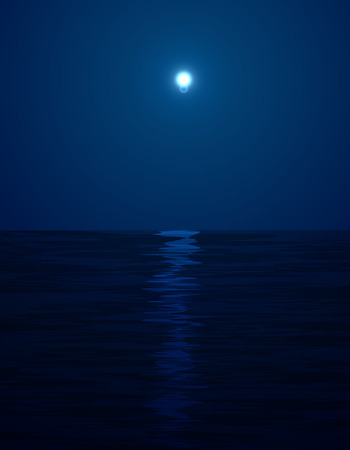Night landscape in the sea and moon  イラスト・ベクター素材