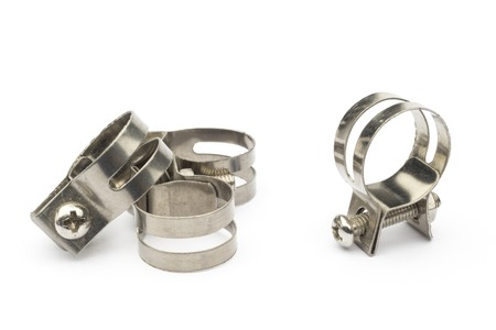 metal clamps on a white background