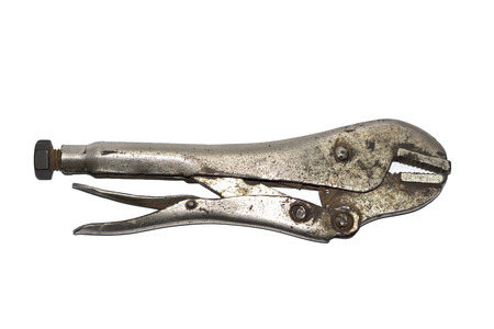 vise: Old locking pliers isolated on white background