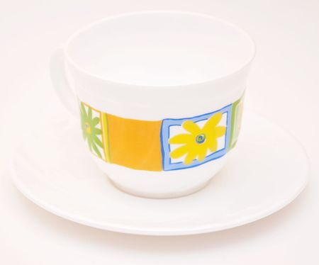 cup saucer: Empty tea cup saucer on white background