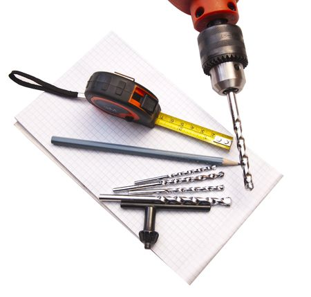 apertures: Tools for drilling of apertures in wall Stock Photo