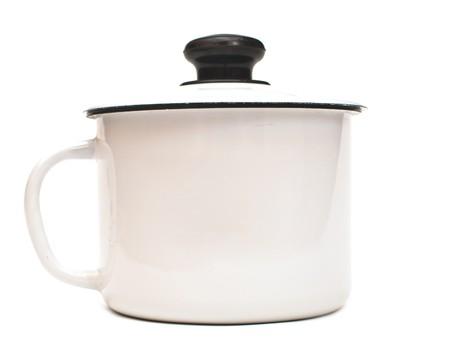 white enameled pan isolated on the white Stock Photo - 7453956