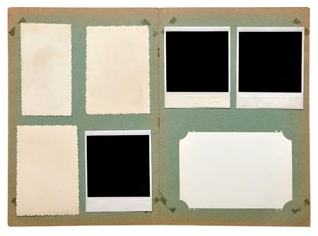 vintage photo album with empty photos on white photo