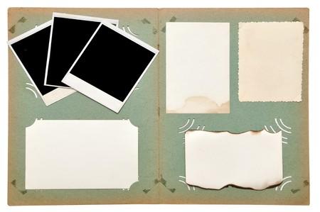 vintage photo album with empty photos on white Stock Photo - 7858175